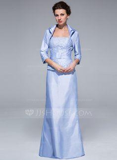 Etui-Linie Rechteckiger Ausschnitt Bodenlang Taft Kleid für die Brautmutter mit Rüschen Spitze Perlen verziert (008018966)