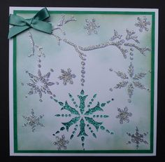 'Christmas Sparkles' card. Imagination Craft's - Silver and Jade Sparkle Mediums. 'Sparkles' stencil. T.H. Distress ink - tumbled glass. October 2013.