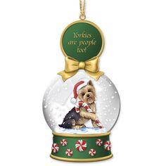 Yorkie Dog Collectibles | Yorkie Snow Globe Ornaments - The Danbury Mint