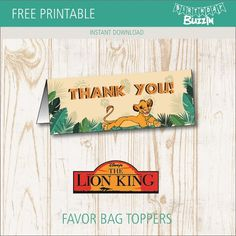 A roaring Lion king birthday party is guaranteed to bring out the wild side of all who attend. Use these free printable Lion King favor bag toppers to make goodie bags your guests will love. Lion Birthday Party, Lion King Birthday, Birthday Bag, Birthday Favors, First Birthday Parties, Birthday Party Decorations, Party Favors, Party Bags, Shower Favors