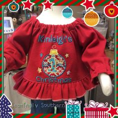 Handmade First Christmas Peasant Style Shirt by SeaminglySouthern