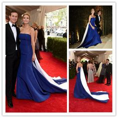 MGC12 Elegant Celebrity Dresses 2015 Met Gala Blue and White Strapless Ivanka Trump robe de soiree Evening Party Dresses