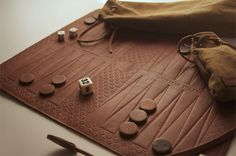 Fancy - Leather Backgammon Set by Ameriken Joe Jnc INTERESTING TO MAKE ON WOOD WITHOUT FANCY INLAYS ETC