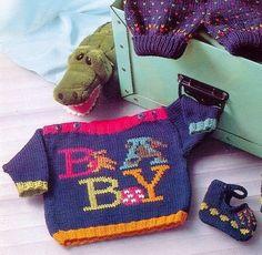 Delicadezas en crochet Gabriela: Esquema buzo en dos agujas niños