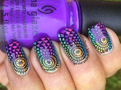 China Glaze Electric Nights - Nail Art #manicure #nailart #stamping #konad #uberchic #chinaglaze #chinaglazeelectricnights http://nailallure.blogspot.co.uk/2015/04/china-glaze-electric-nights-nail-art.html Konad Stamping, Nail Stamping Plates, Wow Nails, Pretty Nails, Emoji Nails, Nail Techniques, Nail Time, Glamour, Chic Nails