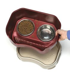 POTTERY STONEWARE - CAT FEEDER BOWL - Comfortable Kick Spill Proof - Elevated