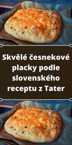 Skvělé česnekové placky podle slovenského receptu z Tater Salmon Burgers, Baked Potato, Pizza, Food And Drink, Cooking Recipes, Bread, Ethnic Recipes, Kitchen, Hampers