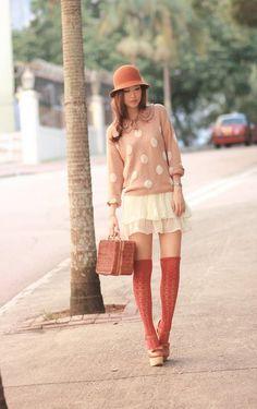 Polka dot sweater and skirt
