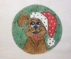Santa Puppy Dog Christmas Ornament Handpainted Needlepoint Canvas