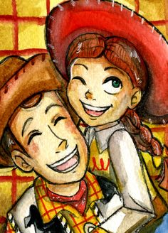 Woody & Jessie I love them together but NOT as a pairing! In my opinion they are brother and sister Woody and Jessie . Disney Toys, Disney Pixar, Disney Characters, Disney Stuff, Disney Dream, Disney Magic, Woody Y Jessie, Dibujos Toy Story, Pixar Movies