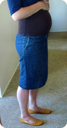 Jeans to maternity skirt refashion. How cool is that? (from Homemade by Jill)