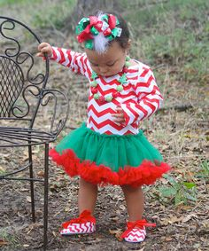 Take a look at this Red & Green Zigzag Tutu Bodysuit  - Infant by Diva Daze on #zulily today!