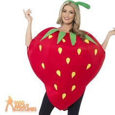 This Delicious Fancy Dress Costume will be the Jucy Gossip that everyone is Talking about after your Party! The Fantastic Adult Strawberry Costume comes complete with The Red Tabard with Printed Seed and Stalk Detail along with the Green Stalk Headpiece. | eBay!