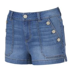 Juniors' SO® Button Pocket Jean Shortie Shorts, Teens, Size: 7, Blue Other