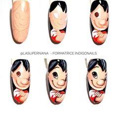 Funky Nail Art, Funky Nails, Love Nails, Beautiful Nail Art, Gorgeous Nails, Sharpie Nail Art, Teenage Girl Haircuts, Lilo Et Stitch, Minion Nails
