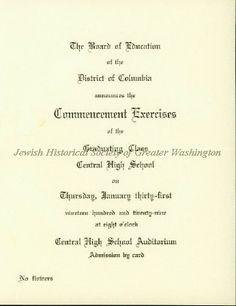 Commencement Exercises Announcement for Central High School, Washington, D.C. 1929
