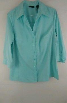 Women's Apostrophe Plus Size 16W Stretch Button Down Turquoise