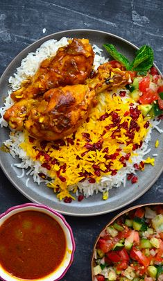 Yammie's Noshery: Persian Saffron Chicken {Zereshk Polo Ba Morgh} An authentic recipe for Persian Saffron Chicken with Barberry Rice! This is such an amazing combo of flavors and spices! Persian Chicken, Persian Saffron Chicken Recipe, Persian Rice, Saffron Recipes, Iran Food, Iranian Cuisine, Indian Food Recipes, Ethnic Recipes, Gastronomia