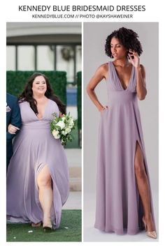 Kennedy Blue came out will new dress designs... and we are obsessed with this one in the style 'Rose'. This dress is flattering on all shapes and sizes and comes in over 40 shades. The dress pictured above is in the shade French Lilac. Shop all styles and colors today with Kennedy Blue! bridesmaid inspiration & trends   unique bridesmaid dress   chiffon bridesmaid dress   2022 bridesmaid dress inspiration   Kennedy Blue Bridesmaids   muted purple   light purple   dusty purple   plus size Modern Bridesmaid Dresses, Bridesmaid Dress Colors, Blue Bridesmaids, Wedding Dresses, Dusty Purple, Light Purple, Cute Short Dresses, Blue Dresses, Plunging V Neck Dress