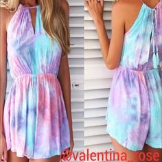 "Tye-Dye romper bust 34"", waist 26"", hips 35""  Size 4/6 "" medium"" has front flap to make it look like a dress from front but shorts underneath- super cute for a beach day - this item is new with my boutique tags Pants Jumpsuits & Rompers"