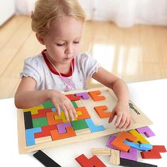 Peradix Colorful Wooden Tangram Brain Teaser Puzzle Toys Tetris Game Preschool Magination Intellectual Educational