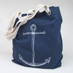 1c15c509e04fd NEW - Canvas Anchor Beach Tote Bag - Navy