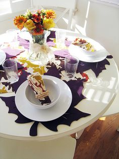 Autumn table: felt leaf placemats in jewel tones