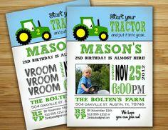 TRACTOR BIRTHDAY | Tractor Birthday Party Invitation / invite - ... | Birthday Party Ide ...