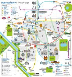 Plano del Metro de Madrid donde aparecen ubicados edificios y puntos de interés turísticos, como la Puerta de Alcalá, la Biblioteca Nacional o el estadio Santiago Bernabéu.