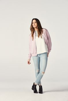 Urban military meets feminine elegance. Top off your casual look with our Soft Bomber Jacket.