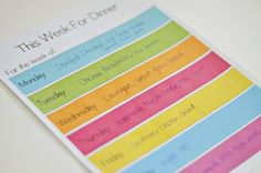 meal planning printable by mique.  if only she could actually plan my meals also ;)