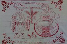 Embroidery, Hungary, Image, Art, Crossstitch, Cloths, Red, Needlepoint, Needlework