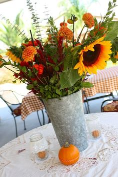 fall flowers used as centerpieces