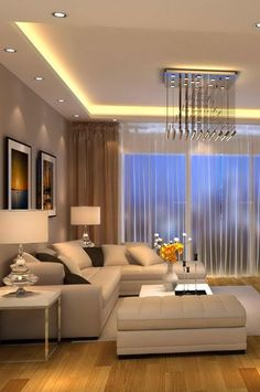 ✔ Contemporary Living Room Decorating Designs With Cool Lighting – Indian Living Rooms Living Room Lighting Design, Living Room Sofa Design, Home Room Design, Living Room Designs, Living Room Decor, Living Rooms, Bedroom Decor, Classy Living Room, Cozy Living