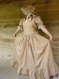 WeHaveCostumes Handmade Historical Costumes Pioneer Girl American Colonial Girl -Golden Prairie Dress- Child sizes up to 14