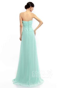 Sheath-Column Strapless Sweep-Brush Train Chiffon Sleeveless Lace Up-Corset Bridesmaid Dresses #COLT1400B #cocomelody #bridesmaiddress