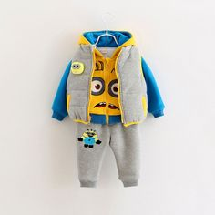 26.80$  Watch now - http://alif7q.worldwells.pw/go.php?t=32732490927 - Baby Boys Clothing Set Thicken Coat + Fleece Top + Warm Pants 3-piece Winter Suit CottonCartoon Hooded Children Set