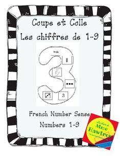 Coupe et Colle Les chiffres de 1-9 - French Number Sense Activity Maths, Squares, Students, Activities, School, Day, Preschool, Schools