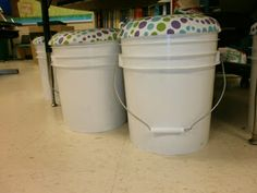 Store classroom materials and give students a place to sit with these 5 gallon bucket stools! #storage #organization #classroom