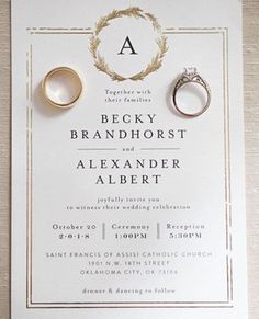 Little Wreath in Real Gold Foil Oh! The joy of your work out in the big real world! Thank you for sharing my exclusive wedding invitation! Some designs just have a special place in my heart ♥ Monogram Wedding Invitations, Classic Wedding Invitations, Wedding Invitation Design, Different Wedding Ideas, Wedding Stationery Inspiration, Oklahoma Wedding, Timeless Wedding, Real Weddings, Profile
