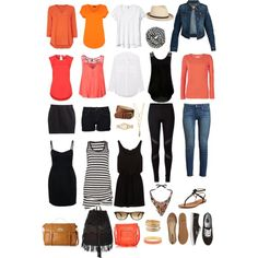 Holiday packing list- orange accent colour