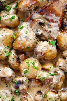 Creamy Garlic Parmesan Mushrooms - Recipes de - Creamy Garlic Parmesan Mushrooms – Recipes de Informations About Cremige Knoblauch Parmesan Pilze - Side Dish Recipes, Vegetable Recipes, Vegetarian Recipes, Dinner Recipes, Cooking Recipes, Healthy Recipes, Cooking Ideas, Drink Recipes, Easy Recipes