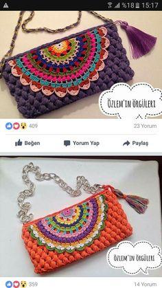 Crochet it for you shawl – Artofit Crochet Clutch Bags, Crochet Handbags, Crochet Purses, Form Crochet, Crochet Yarn, Handmade Leather Wallet, Handmade Bags, Crochet Designs, Crochet Patterns