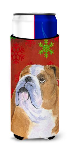 Bulldog English Red and Green Snowflakes Holiday Christmas Ultra Beverage Insulators for slim cans SS4698MUK
