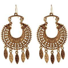 Gold Ornate Eastern Hoop Earrings (4.99) found on Polyvore