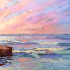 Detail Image for art La Jolla Honeymoon ~Pastels -Patricia Lee Christensen Sky Painting, Painting & Drawing, Sun Art, Guache, Pastel Art, Watercolor Paintings, Pastel Paintings, Aesthetic Art, Landscape Art