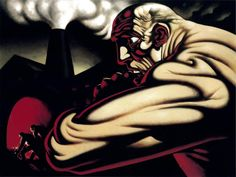 Title: Steam and Power Dimensions: 183 x 244 cm Medium: Oil on Canvas Date: 1998 Location: Flowers Gallery London the strong bold lines add a graphic edge to the piece with the use of a bold colour as a shadow colour is very nice Peter Howson, Advanced Higher Art, Glasgow School Of Art, High Art, Art Themes, Contemporary Artists, Art History, Oil On Canvas, Portrait