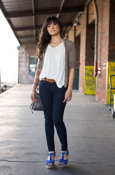 Cardigan, loose tee, belt, and jeans