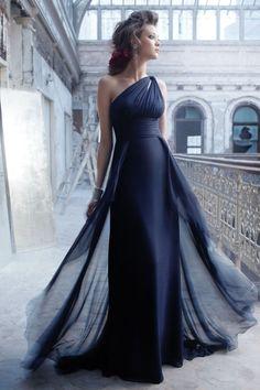 JLM - Noir by Lazaro Autumn 2011 Collection - black asymmetric bridesmaid dress