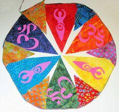 Rainbow Goddess Ohm Prayer Flags Garland.